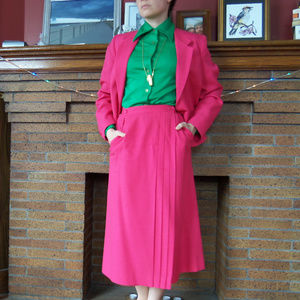 Vintage Hot pink skirt suit - S/M